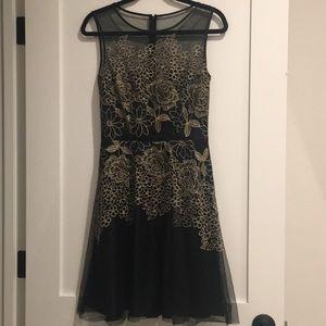 Black and gold sheer overlay Tahatri Dress